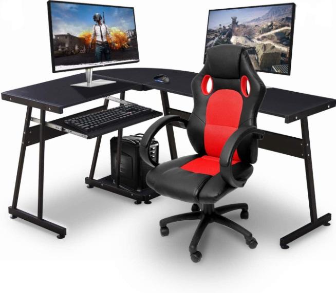 Ivinta L-Shaped Corner Desk Computer Gaming Desk