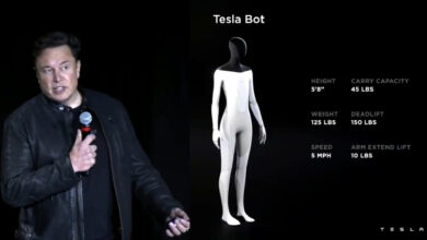 Photo of Elon Musk just added a robot to his list of things always coming 'next year.' For now he's got a guy in a suit